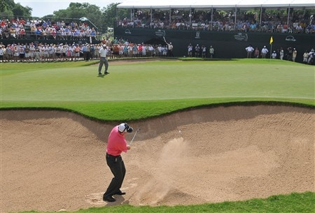 FORT WORTH , TX - MAY 25:  Rod Pampling blasts out of the greenside bunker on the 16th hole during the fourth and final round of the Crowne Plaza Invitational at Colonial Country Club on May 25, 2008 in Fort Worth, Texas.(Photo by Marc Feldman/Getty Images)