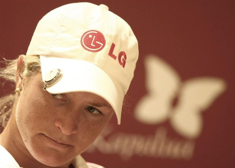 KAPALUA, HI - OCTOBER 16: Suzann Pettersen of Norway speaks to media after finishing 4 under par during the first round of the Kapalua LPGA Classic on October 16, 2008 at the Bay Course in Kapalua, Maui, Hawaii. (Photo by Donald Miralle/Getty Images)