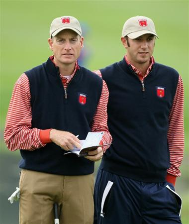 NEWPORT, WALES - SEPTEMBER 30:  Jim Furyk and Dustin Johnson of the USA look over a green during a practice round prior to the 2010 Ryder Cup at the Celtic Manor Resort on September 30, 2010 in Newport, Wales.  (Photo by Andy Lyons/Getty Images)