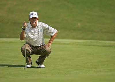 Jay Haas lines up a putt on the 13th hole during the final round of the Champions Tour - 2007 Greater Hickory Classic at Rock Barn Golf and Spa on September 16, 2007 in Conover, North Carolina . Champions Tour - 2007 Greater Hickory Classic at Rock Barn - Final RoundPhoto by Mike Ehrmann/WireImage.com