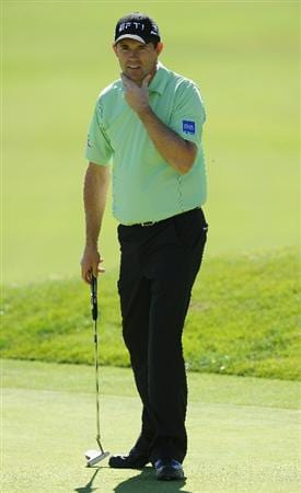 PACIFIC PALISADES, CA - FEBRUARY 17:  Padraig Harrington of Ireland reacts to his putt on the nineth hole during the first round of the Northern Trust Open at Riviera Country Club on February 17, 2011 in Pacific Palisades, California.  (Photo by Stuart Franklin/Getty Images)