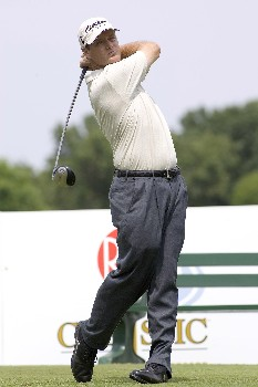 Anthony Painter drives off the tee during the Rheem Classic at Hardscrabble Country Club in Fort Smith, Arkansas on Friday May 13, 2005. He finished 7 under and in second place after the second round.Photo by Wesley Hitt/WireImage.com