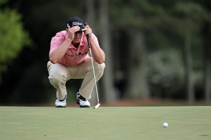 AUGUSTA, GA - APRIL 08:  Steve Stricker lines up a putt on thye 18th green during the first round of the 2010 Masters Tournament at Augusta National Golf Club on April 8, 2010 in Augusta, Georgia.  (Photo by Harry How/Getty Images)