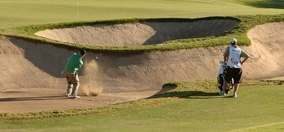 David Duval blasts out of the greenside bunker on the 13th hole during the second round of the Fry's Electronics Open on October 19, 2007 at Grayhawk Golf Club in Scottsdale, Arizona PGA TOUR - 2007 Frys Electronics Open - Second RoundPhoto by Marc Feldman/WireImage.com