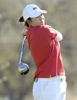 Hee-Won Han on the 2nd tee during the third round of the LPGA Longs Drugs Challenge at the Ridge Golf Club in Auburn, California on Saturday, October 8, 2005Photo by Marc Feldman/WireImage.com
