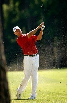 HILTON HEAD, SC - APRIL 17:  Davis Love III watches his shot from the fairway on the 15th hole during the first round of the Verizon Heritage at Harbour Town Golf Links on April 17, 2008 in Hilton Head, South Carolina.  (Photo by Streeter Lecka/Getty Images)