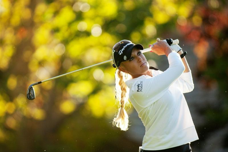 DANVILLE, CA - OCTOBER 15: Natalie Gulbis follows through on a tee shot during the second round of the CVS/Pharmacy LPGA Challenge at Blackhawk Country Club on October 15, 2010 in Danville, California. (Photo by Darren Carroll/Getty Images)