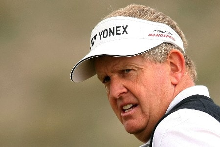 MARANA, AZ - FEBRUARY 22:  Colin Montgomerie of Scotland waits on the first green during the third round matches of the WGC-Accenture Match Play Championship at The Gallery at Dove Mountain on February 22, 2008 in Marana, Arizona.  (Photo by Scott Halleran/Getty Images)