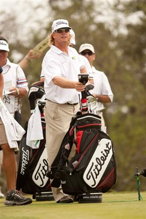 SAN ANTONIO, TX - APRIL 17: Charley Hoffman stands with his golf bag during the final round of the Valero Texas Open at the AT&T Oaks Course at TPC San Antonio on April 17, 2011 in San Antonio, Texas. (Photo by Darren Carroll/Getty Images)