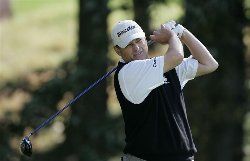 TIMONIUM, MD - OCTOBER 04: Loren Roberts hits his drive on the 13th hole during the final round of the Constellation Energy Senior Players Championship at Baltimore Country Club/Five Farms (East Course) held on October 4, 2009 in Timonium, Maryland (Photo by Michael Cohen/Getty Images)