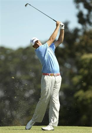 MELBOURNE, AUSTRALIA - NOVEMBER 11: Alistair Presnell of Australia plays a shot during day one of the Australian Masters at The Victoria Golf Club on November 11, 2010 in Melbourne, Australia.  (Photo by Lucas Dawson/Getty Images)