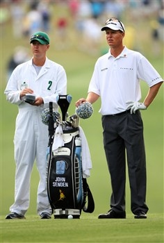 AUGUSTA, GA - APRIL 11:  John Senden of Australia waits with his caddie during the second round of the 2008 Masters Tournament at Augusta National Golf Club on April 11, 2008 in Augusta, Georgia.  (Photo by Andrew Redington/Getty Images)