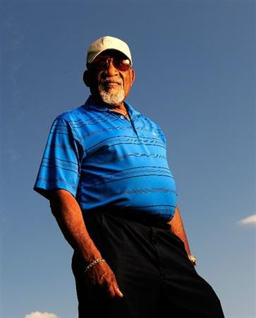 AKRON, OH - AUGUST 05:  Charlie Sifford, member of the World Golf Hall of Fame, poses for a portrait prior to the WGC-Bridgestone Invitational on the South Course at Firestone Country Club on August 5, 2009 in Akron, Ohio.  (Photo by Sam Greenwood/Getty Images)