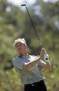 Brad Faxon watches his tee shot on the 16th hole during the second round of the Southern Farm Bureau Classic at Annandale Golf Club in Madison, Mississippi, on September 29, 2006. Photo by Hunter Martin/WireImage.com