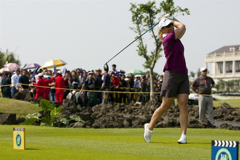 HAIKOU, CHINA - OCTOBER 30: Golfer Annika Sorenstam of Sweden in actions during day four of the Mission Hills Start Trophy tournament at Mission Hills Resort on October 30, 2010 in Haikou, China. The Mission Hills Star Trophy is Asia's leading leisure liflestyle event which features Hollywood celebrities and international golf stars.  (Photo by Athit Perawongmetha/Getty Images for Mission Hills)