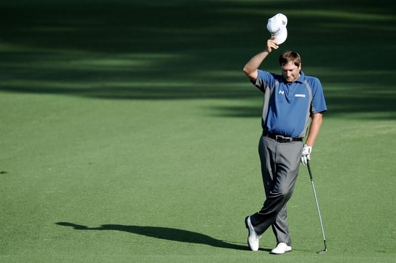 AUGUSTA, GA - APRIL 08:  Steve Marino reacts to his eagle on the second hole during the first round of the 2010 Masters Tournament at Augusta National Golf Club on April 8, 2010 in Augusta, Georgia.  (Photo by Harry How/Getty Images)