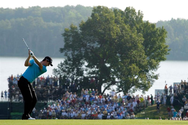 CHASKA, MN - AUGUST 13:  Justin Rose of England hits a shot on the tenth hole during the first round of the 91st PGA Championship at Hazeltine National Golf Club on August 13, 2009 in Chaska, Minnesota.  (Photo by Jamie Squire/Getty Images)