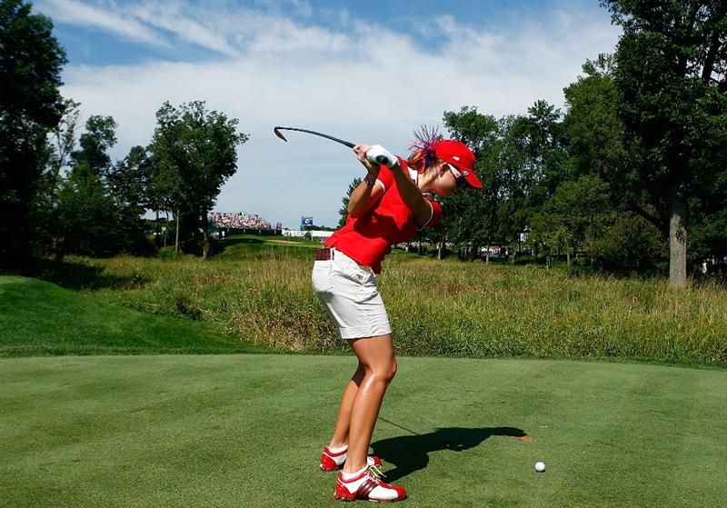 SUGAR GROVE, IL - AUGUST 18:  Paula Creamer of the U.S. Team hits a shot during a practice round prior to the start of the 2009 Solheim Cup at Rich Harvest Farms on August 18, 2009 in Sugar Grove, Illinois.  (Photo by Scott Halleran/Getty Images)