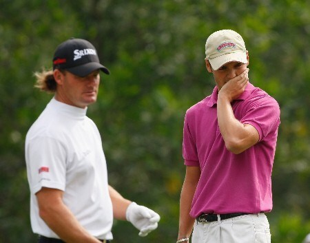 SHENZHEN, CHINA - NOVEMBER 25:  Alex Cejka and Martin Kaymer of Germany react to a putt on the second hole during the final round of the Omega Mission Hills World Cup at the Mission Hills Golf Resort on November 25, 2007 in Shenzhen, China.  (Photo by Stuart Franklin/Getty Images)