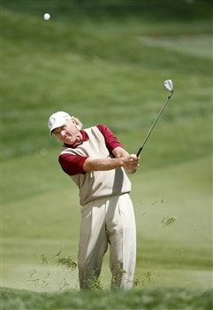 ROCHESTER, NY - MAY 23: Greg Norman of Australia hits his fourth shot on the 13th hole during the second round of the 69th Senior PGA Championship at Oak Hill Country Club - East Course on May 23, 2008 in Rochester, New York. (Photo by Hunter Martin/Getty Images)