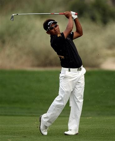 DUBAI, UNITED ARAB EMIRATES - FEBRUARY 05:  Thongchai Jaidee of Thailand during the second round the Omega Dubai Desert Classic on the Majlis Course at the Emirates Golf Club on February 5, 2010 in Dubai, United Arab Emirates.  (Photo by Ross Kinnaird/Getty Images)