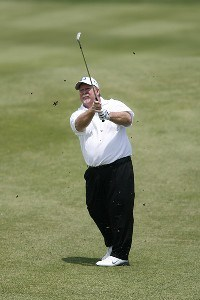 Craig Stadler hits an approach shot during the opening round of the Greater Kansas City Golf Classic at the Nicklaus Golf Club at LionsGate in Overland Park, Kansas on June 30, 2006.Photo by G. Newman Lowrance/WireImage.com