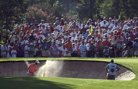 TULSA, OK - AUGUST 09:  Bob Tway plays a bunker shot on the tenth hole during the first round of the 89th PGA Championship at the Southern Hills Country Club on August 9, 2007 in Tulsa, Oklahoma.  (Photo by David Cannon/Getty Images)