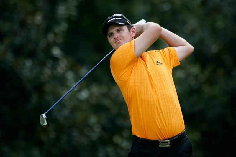 ATLANTA - SEPTEMBER 23:  Justin Rose of England hit his tee shot on the fifth hole during the first round of THE TOUR Championship presented by Coca-Cola at East Lake Golf Club on September 23, 2010 in Atlanta, Georgia.  (Photo by Scott Halleran/Getty Images)