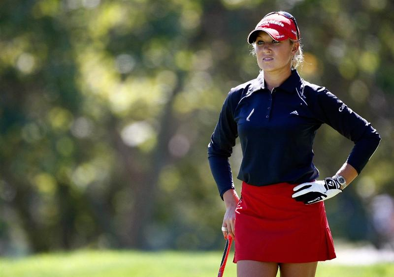 DANVILLE, CA - SEPTEMBER 25:  Natalie Gulbis wits to tee off on the 7th hole during the second round of the CVS/pharmacy LPGA Challenge at Blackhawk Country Club on September 25, 2009 in Danville, California.  (Photo by Jonathan Ferrey/Getty Images)