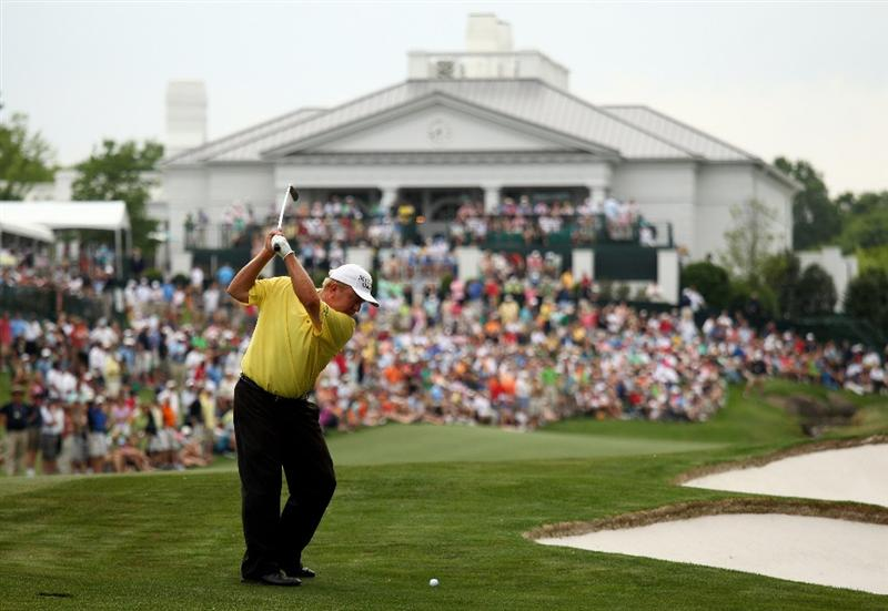 CHARLOTTE, NC - MAY 01:  Billy Mayfair plays into the 18th green during the third round of the Quail Hollow Championship at Quail Hollow Country Club on May 1, 2010 in Charlotte, North Carolina.  (Photo by Richard Heathcote/Getty Images)