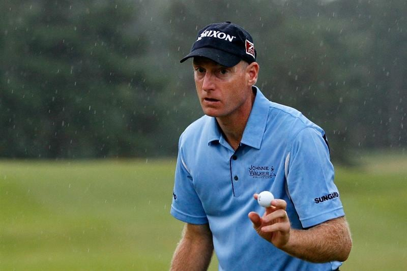 ATLANTA - SEPTEMBER 26:  Jim Furyk acknowledges the gallery after saving par on the eighth hole during the final round of THE TOUR Championship presented by Coca-Cola at East Lake Golf Club on September 26, 2010 in Atlanta, Georgia.  (Photo by Kevin C. Cox/Getty Images)