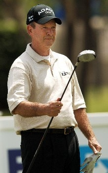 Larry Nelson hits from the 11th tee during the first round of the FedEX Kinko's Classic at the Hills Country Club in Austin, Texas April 29, 2005.Photo by Steve Grayson/WireImage.com
