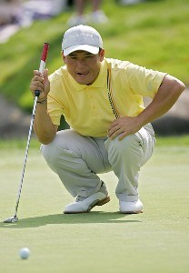 Shigeki Maruyama during the third round of the 2006 Wachovia Championship at the Quail Hollow Club in Charlotte, North Carolina on May 6, 2006. Arron Oberholser is at right.Photo by Sam Greenwood/WireImage.com