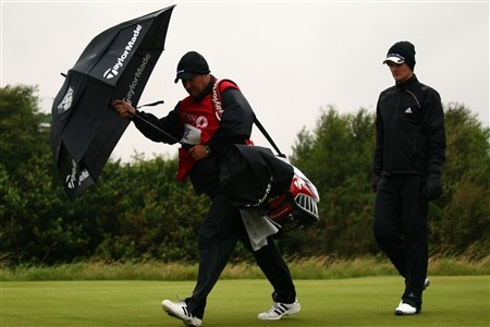 SOUTHPORT, UNITED KINGDOM - JULY 17:  Justin Rose of England walks with his caddie Mark Fulcher on the 2nd hole during the First Round of the 137th Open Championship on July 17, 2008 at Royal Birkdale Golf Club, Southport, England.  (Photo by Richard Heathcote/Getty Images)