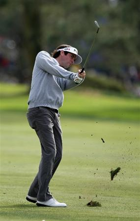 LA JOLLA, CA - JANUARY 30:  Bubba Watson hits off the 18th fairway en route to winning the Farmers Insurance Open with -16 under par on the final round on January 30, 2011 in La Jolla, California.  (Photo by Donald Miralle/Getty Images)