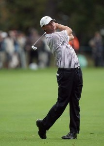 Lucas Glover of the U.S. Team hits on the 16th hole during the round 2 four ball matches at the Presidents Cup at Royal Montreal Golf Club on September 28, 2007 in Montreal, Quebec, Canada. PGA TOUR - 2007 The Presidents Cup - Second RoundPhoto by David Cannon/WireImage.com