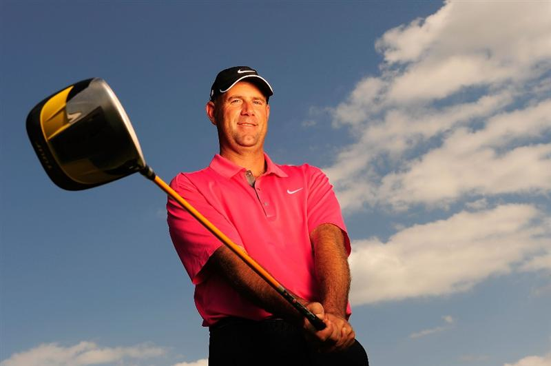 AKRON, OH - AUGUST 05:  Stewart Cink poses for a portrait prior to the WGC-Bridgestone Invitational on the South Course at Firestone Country Club on August 5, 2009 in Akron, Ohio.  (Photo by Sam Greenwood/Getty Images)