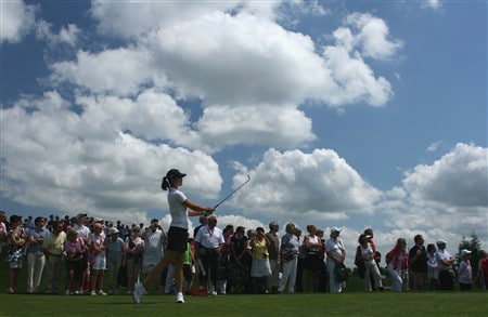 MUNICH, GERMANY - MAY 31:  Michelle Wie of USA plays her tee shot on the fourth hole during the third round of the Hypo Vereinsbank Ladies German Open Golf at Golfpark Gut Hausern on May 31, 2008 near Munich, Germany.  (Photo by Stuart Franklin/Bongarts/Getty Images)