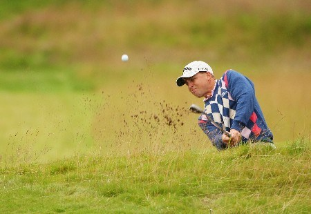 CARNOUSTIE, UNITED KINGDOM - JULY 20:  Niclas Fasth of Sweden plays a bunker shot on the ninth hole  during the second round of The 136th Open Championship at the Carnoustie Golf Club on July 20, 2007 in Carnoustie, Scotland.  (Photo by Andrew Redington/Getty Images)