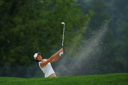 NEW ROCHELLE, NY - JULY 19:  Laura Diaz plays her third shot on the ninth hole during the first round of the HSBC Women's World Match Play Championship at Wykagyl Country Club July 19, 2007 in New Rochelle, New York.  (Photo by Chris McGrath/Getty Images)