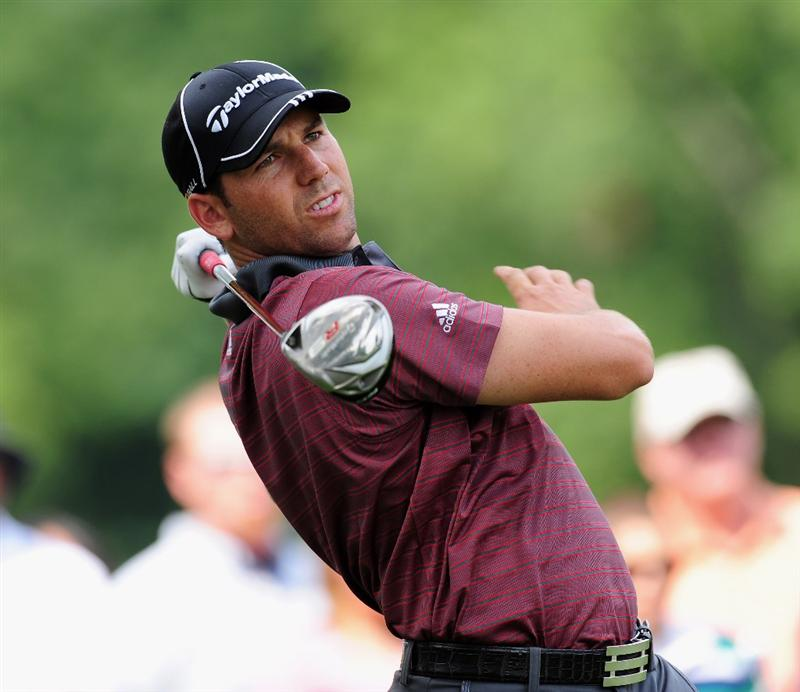AKRON, OH - AUGUST 06:  Sergio Garcia of Spain plays his tee shot on the 11th hole during the first round of the World Golf Championship Bridgestone Invitational on August 6, 2009 at Firestone Country Club in Akron, Ohio.  (Photo by Stuart Franklin/Getty Images)