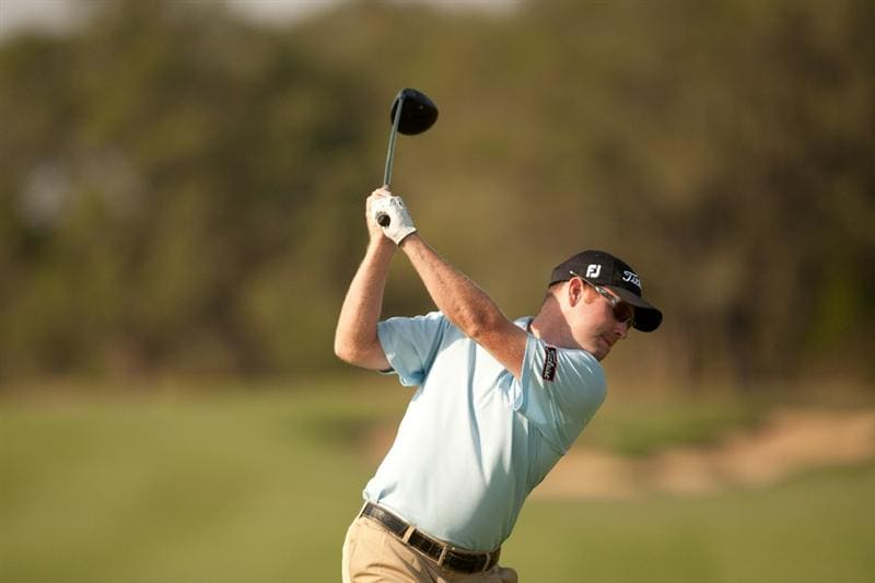 SAN ANTONIO, TX - APRIL 15: Troy Matteson hits a tee shot during the second round of the Valero Texas Open at the AT&T Oaks Course at TPC San Antonio on April 15, 2011 in San Antonio, Texas. (Photo by Darren Carroll/Getty Images)