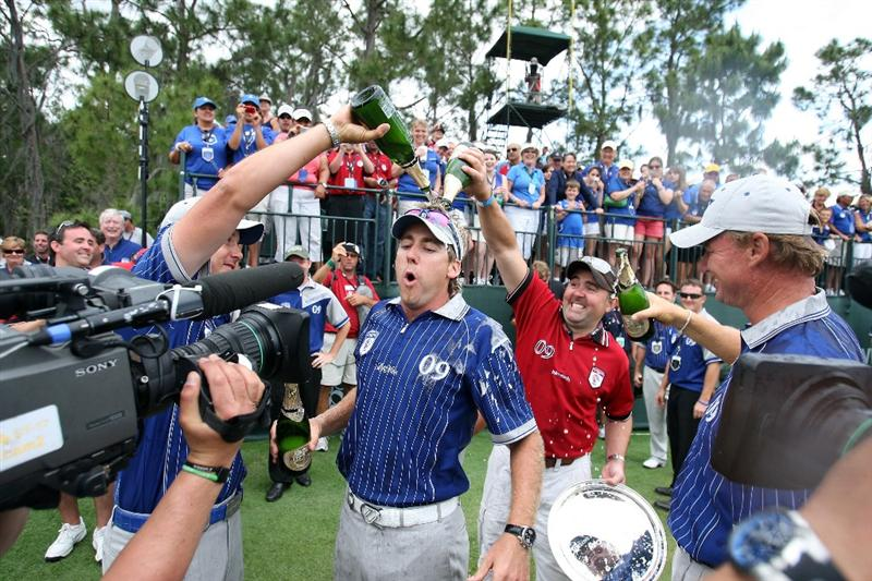 ORLANDO, FL - MARCH 17: Ian Poulter of England and the Lake Nona Team is doused in champagne during the second day of the 2009 Tavistock Cup at the Lake Nona Golf and Country Club, on March 17, 2009 in Orlando, Florida  (Photo by David Cannon/Getty Images)