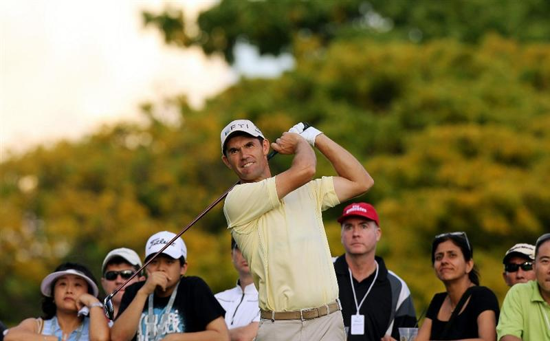 SINGAPORE - NOVEMBER 12: Padraig Harrington of Ireland tees off on the 13th hole during the second round of the Barclays Singapore Open held at the Sentosa Golf Club on November 12, 2010 in Singapore, Singapore.  (Photo by Stanley Chou/Getty Images)