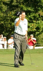 Loren Roberts reacts after winning on the 18th green during the fourth and final round of the Constellation Energy Senior Players Championship on Sunday October 7, 2007 at Baltimore Country Club/ Five Farms East Course in Timonium, Maryland. Champions Tour - 2007 Constellation Energy Senior Players Championship - Final RoundPhoto by M. Cohen/WireImage.com