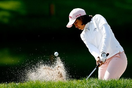 CLIFTON, NJ - MAY 17:  Julieta Granada of Paraguay hits from a bunker on the 12th hole during the first round of the Sybase Classic at Upper Montclair Country Club on May 17, 2007 in Clifton, New Jersey.  (Photo by Travis Lindquist/Getty Images)