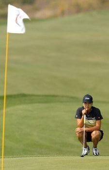 Hee-Won Han lines up a putt on the 13th green during the second round of the 2005 Office Depot Championship at Trump National Golf Club Los Angeles in Rancho Palos Verdes, California October 1, 2005.Photo by Steve Grayson/WireImage.com