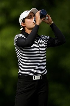 CLIFTON, NJ - MAY 18:  Lorena Ochoa of Mexico takes a drink from her water bottle on the fourth hole during the final round of the Sybase Classic presented by ShopRite on May 18, 2008 at the Upper Montclair Country Club in Clifton, New Jersey.  (Photo by Travis Lindquist/Getty Images)