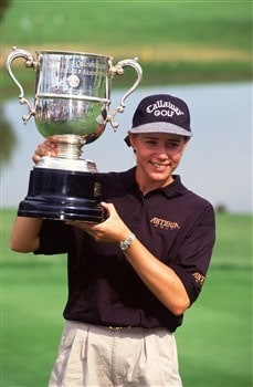 16 Jul 1995: ANNIKA SORENSTAM OF SWEDEN HOLDS UP THE WINNERS'S TROPHY AFTER CAPTURING THE WOMEN'S U.S. OPEN TOURNAMENT AT THE BROADMOOR EAST GOLF COURSE IN COLORADO SPRINGS, COLORADO. SORENSTAM HAD A SHOT A FINAL ROUND SCORE OF 68, AND FINISHED ONE SHOTIN