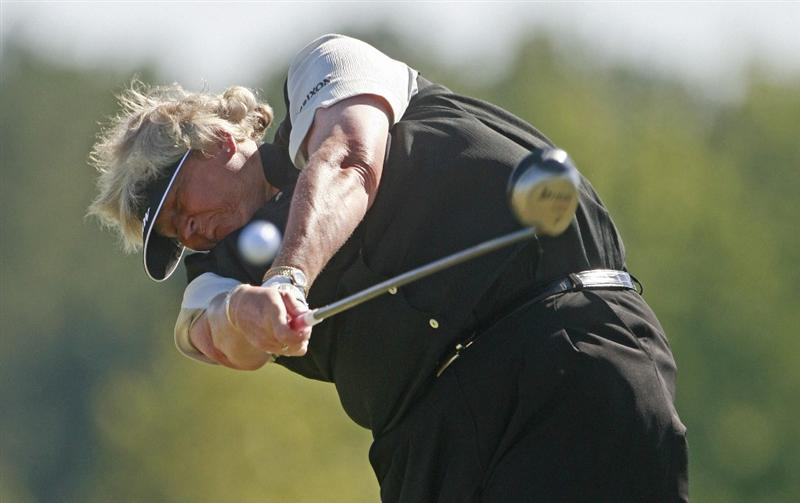 PRATTVILLE, AL - OCTOBER 3:   Laura Davies of England hits her drive from the 10th tee during third round play in the Navistar LPGA Classic at the Robert Trent Jones Golf Trail at Capitol Hill on October 3, 2009 in  Prattville, Alabama.  (Photo by Dave Martin/Getty Images)